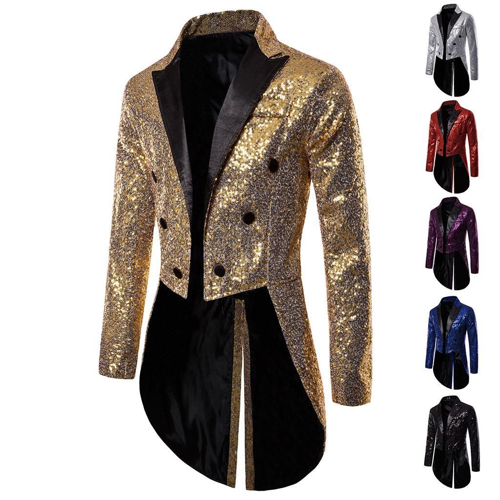 Charm para hombre de las lentejuelas Tailcoat larga chaqueta gótico de Steampunk Fit Traje Cardigan Escudo Praty solo pecho Swallow Uniforme Outwear