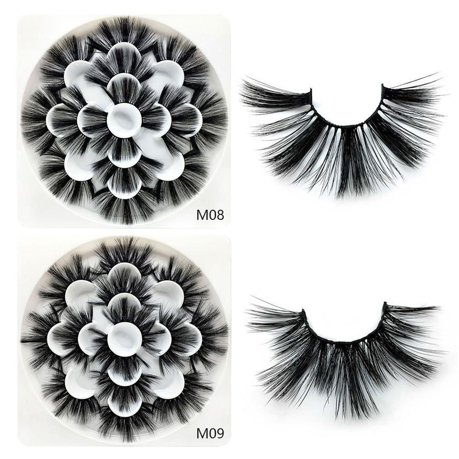 Pestañas de visón 3D Pestañas postizas naturales Extensión de pestañas largas Pestañas postizas falsas Herramienta de maquillaje cosmético 7 pares / set RRA1114