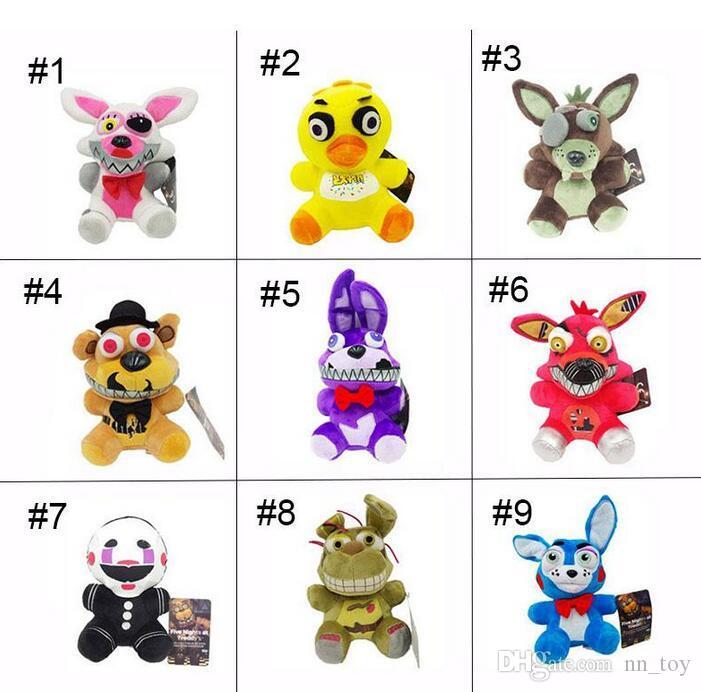 2017 New Arrival cinco noites de Freddy 4 FNAF Pelúcia 15-18cm de Ouro Freddy foxy Bonnie Chica Macio Stuffed Dolls Toy presente para crianças