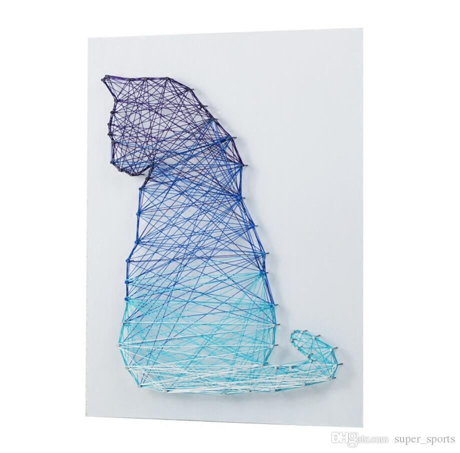 Cat String Art 3D Wedding Decoration Handmade Gifts DIY kit Nail Winding Painting diamond painting green Home decoracion