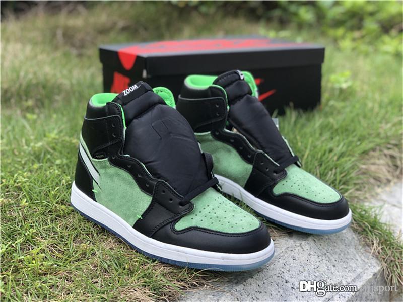 2020 ЛУЧШИЙ Аутентичные Air 1 Высокая Увеличить Ярость Зеленый ретро Черный Suede Женщины Мужчины Баскетбол обувь с Box Sports кроссовки CK6637-002