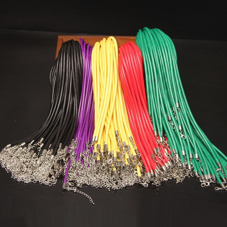 왁스 5mm 로프 가죽 직경 DIY 길이 뱀 코드 문자열 55cm 와이어 익스텐더 걸쇠가있는 랍스터 체인 목걸이 패션 쥬얼리 compone vvek