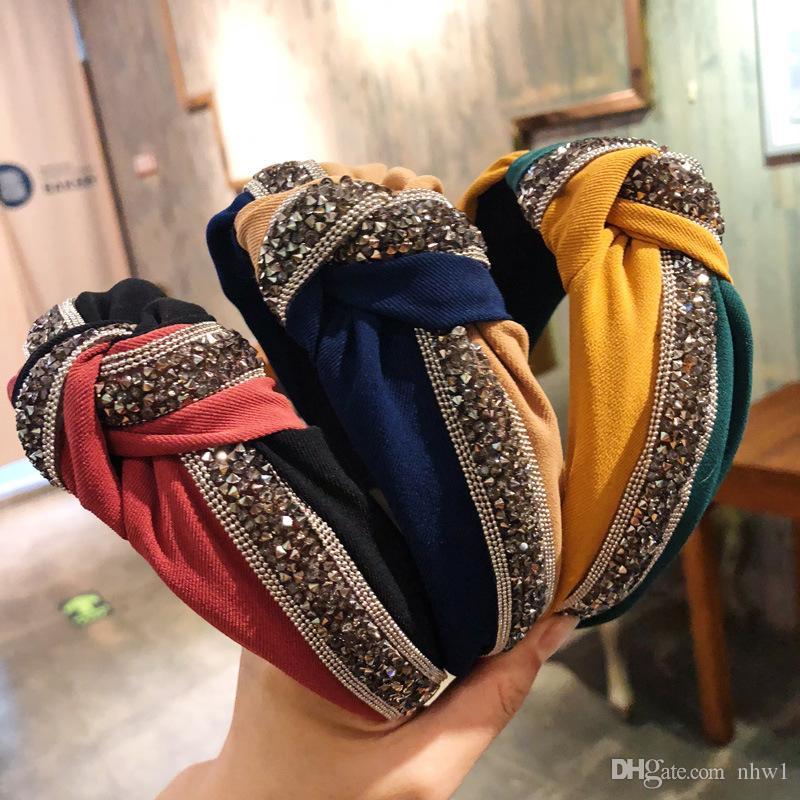 1PC Kristal Geniş Kafa Moda Kadınlar Kızlar Patchwork Parlak Saçlar Hoop Çapraz Knot Bow Hairband Hediye