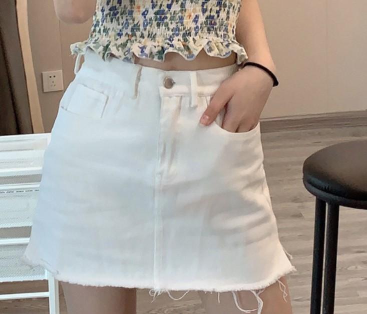 Mini Kot Etek Kadınlar Yaz Katı Casual Düğme Yüksek Bel A-Line Jean Etek Şort Siyah Beyaz Kot Kadınlar SAIAS Streetwear