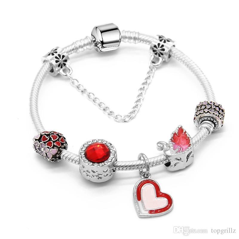 mode de premier ordre qualité nombreux dans la variété Charm Brand Bracelet Pandora Bracelets For Women Royal Crown Bracelet Red  Heard Crystal Beads Diy Wedding Jewelry Bracelets For Women Tennis Bracelet  ...