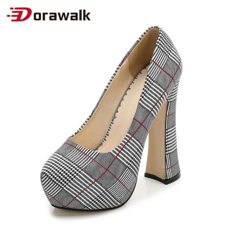 Dorawalk elegante High Heels Frauen-Pumpen Plus Size Wedding Party Platform Schuhe Damenschuhe Comfort tacones karierte Mujer