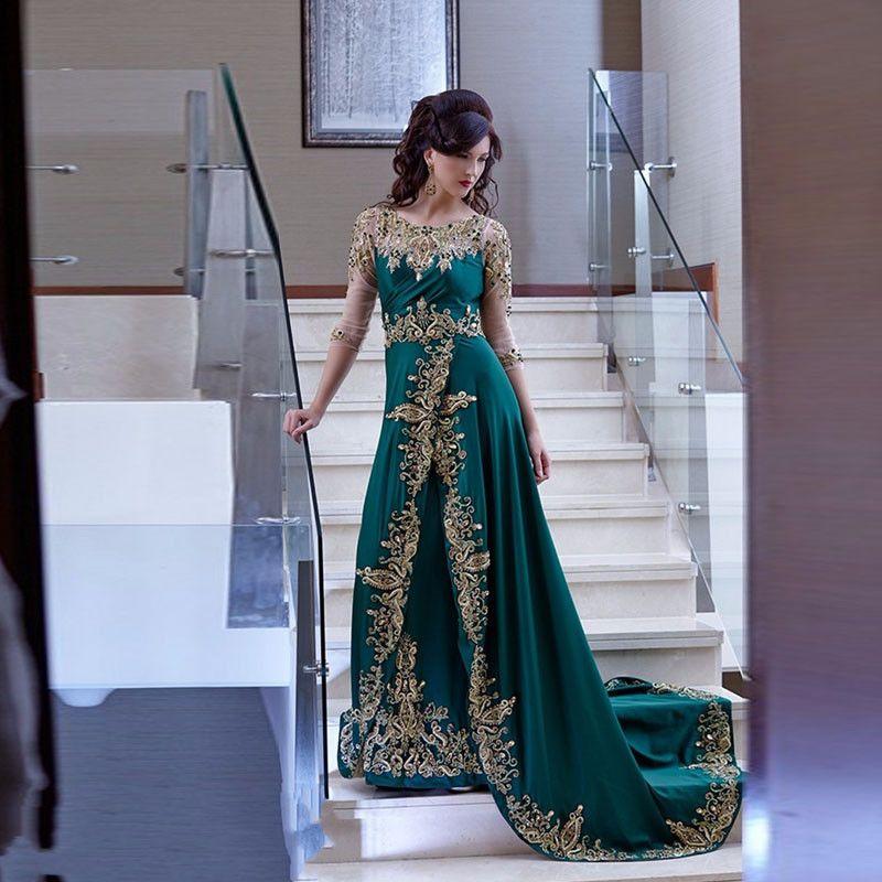 Vestido de noiva Arabisch Kaftan Emerald Green Abendkleider Lange Halbarm Gold-Applikationen Abschlussball-Partei-Kleid-formales Kleid