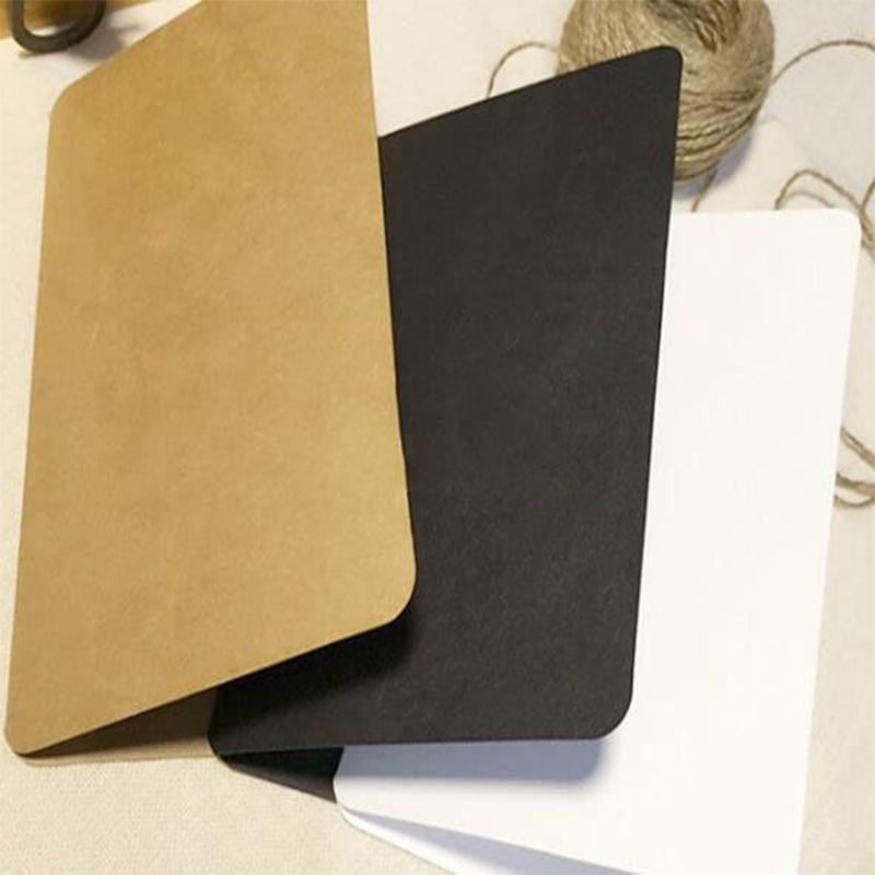 Regalo Invito semplice piega Carta bianca Nero Giallo carta kraft Capodanno Scatola del partito Gift Bag Thank You Card 10pcs / 20pcs / 40pcs
