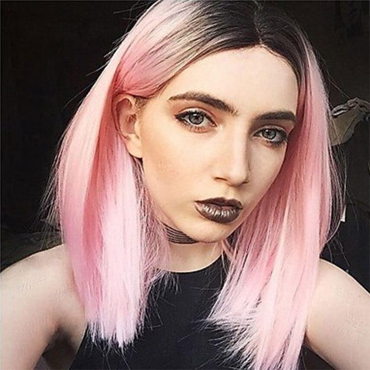 Woman's hair wig chemical fibre gradually lengthens straight hair wigs