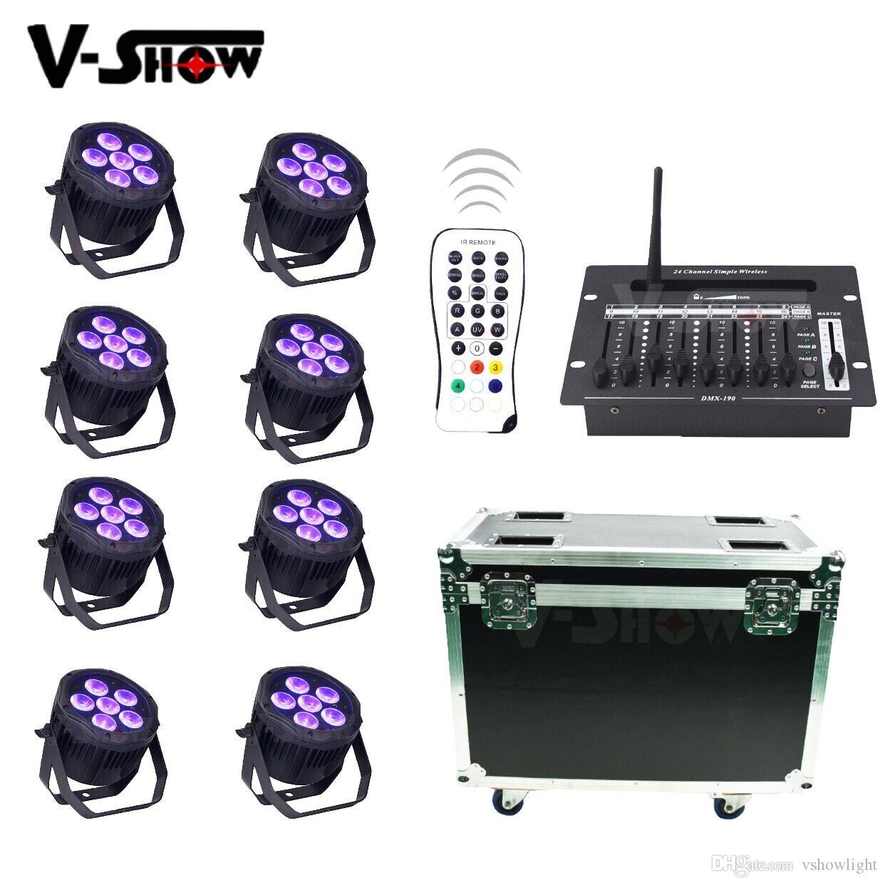 8pcs with 24CH DMX Controller IP65 OUTDOOR 6x18W Battery wireless RGBWA+UV 6in1 LED uplight led par for Hotel Wedding lighting