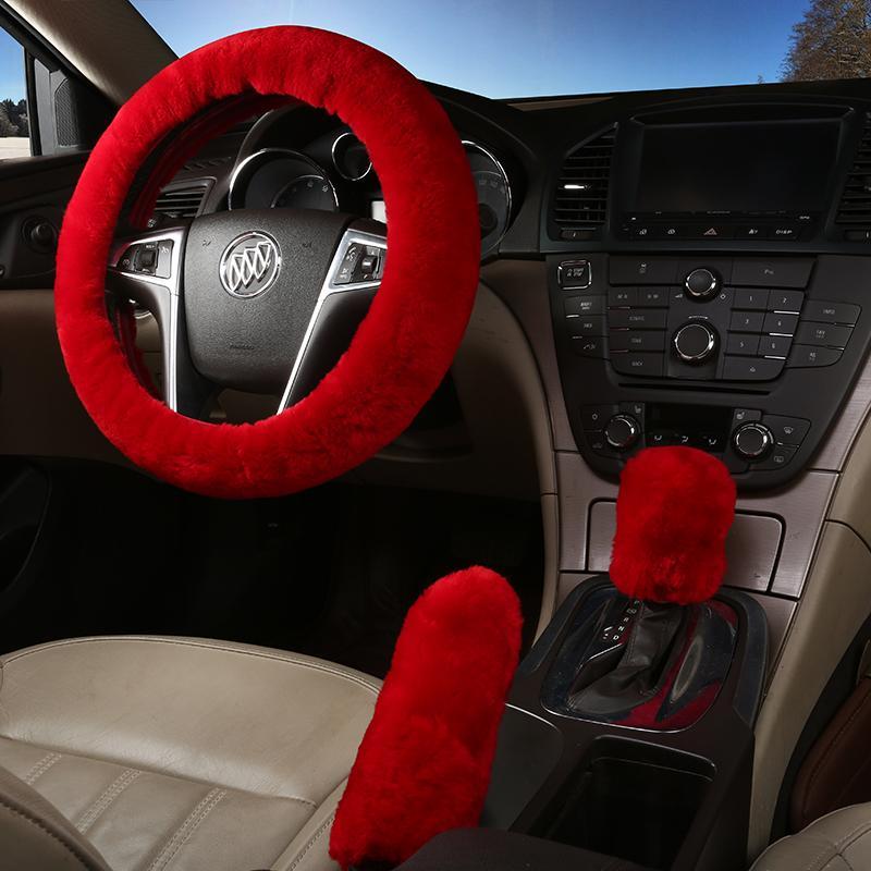 Volante universal Rueda felpa dirección de coches Cubiertas de invierno Faux freno de mano cubierta de engranajes Conjunto de coches Accesorios Interior