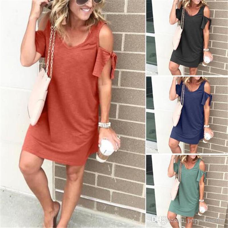 Off Shoulder Womens Dresses Casual Solid Color Short Sleeve Dresses Womens Summer Mini Dresses