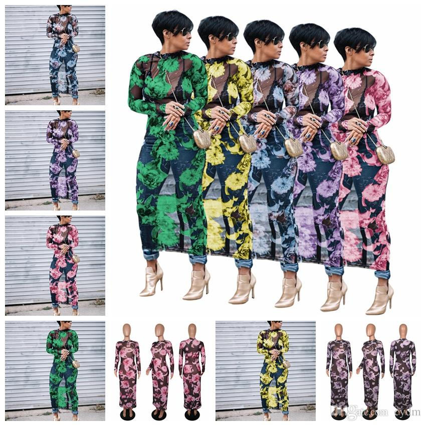 Europejska moda seksowna perspektywa stretch siatki suknia druku, żółty, fioletowy, zielony, niebieski, różowy, obsługuje wsadę mieszaną