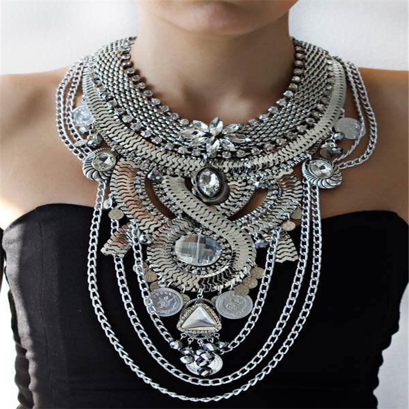De luxe strass Coin Tassel Collier avec pendentif pour les femmes Party Déclaration Accessoires de mode de bijoux collier