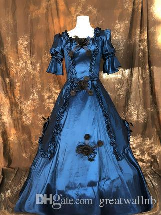 royal blue/red/coffee bowknot carnival coronation ball gown Medieval Renaissance Gown queen costume Victorian dress/Marie Antoinette/studio