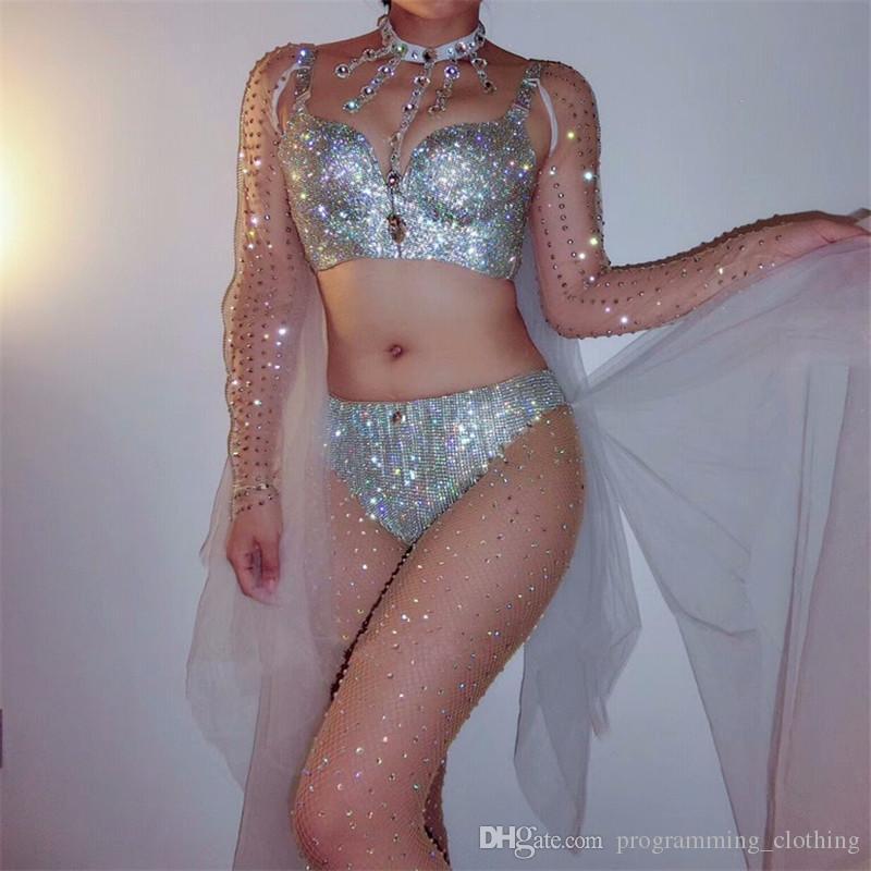 F87 Trajes de dança de salão trompete manga xale bikini cantor veste passarela desempenho terno mulheres vestido sexy vestir prom bra festa bar dj