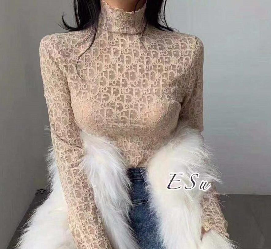Otoño Invierno Undershirt Web Celebrity mismo estilo de diseño de cuello alto de las mujeres del estilo de temperamento atractivo del cordón Micro A través de manga larga