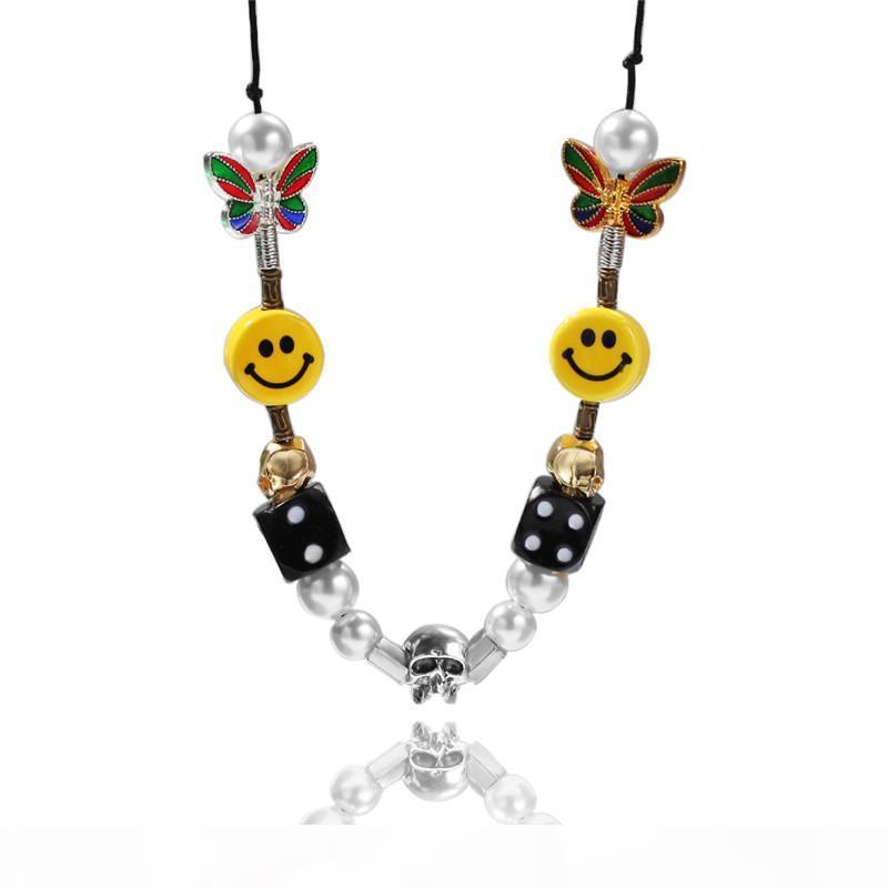 Hip Hop Collier Hommes bracelets en perles dés crâne Visage Sourire Perle Smiley Collier pour Hommes Femmes