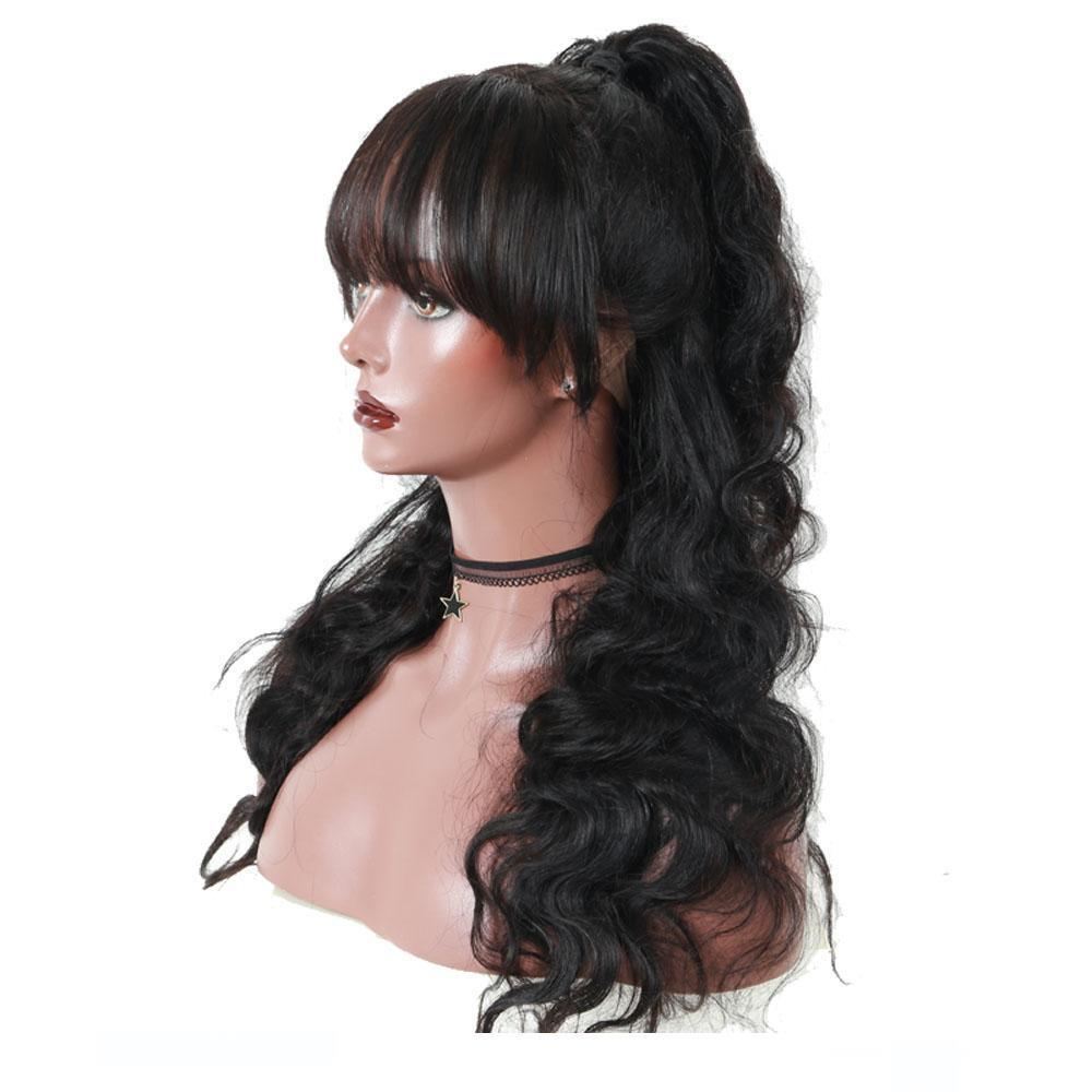 A Silk Top Lace Wigs With Bangs Pre Plucked Body Wave Glueless Brazilian Human Hair Silk Base Full Lace Wigss Bang Bleached Knots