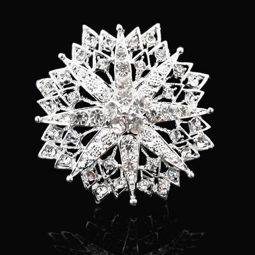 Niedriger Preis luxuriöse Kristall Drill Will Blumen-Brosche