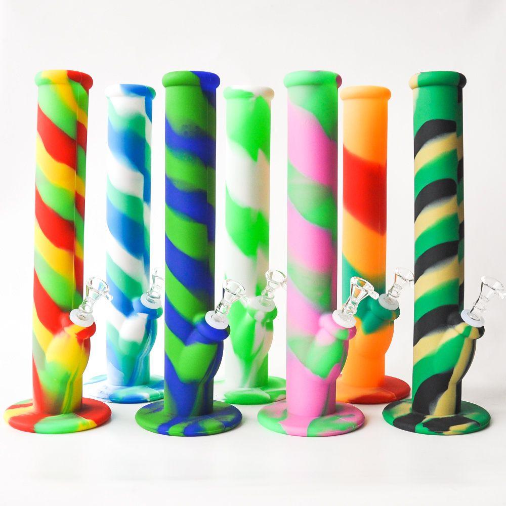 14.2inches Silikon Bongs Silikon-Wasser-Rohr Glas Bongs mit Mischungsfarben-Silikon-Bohrinseln Pfeife Kawumm Kostenloser Versand