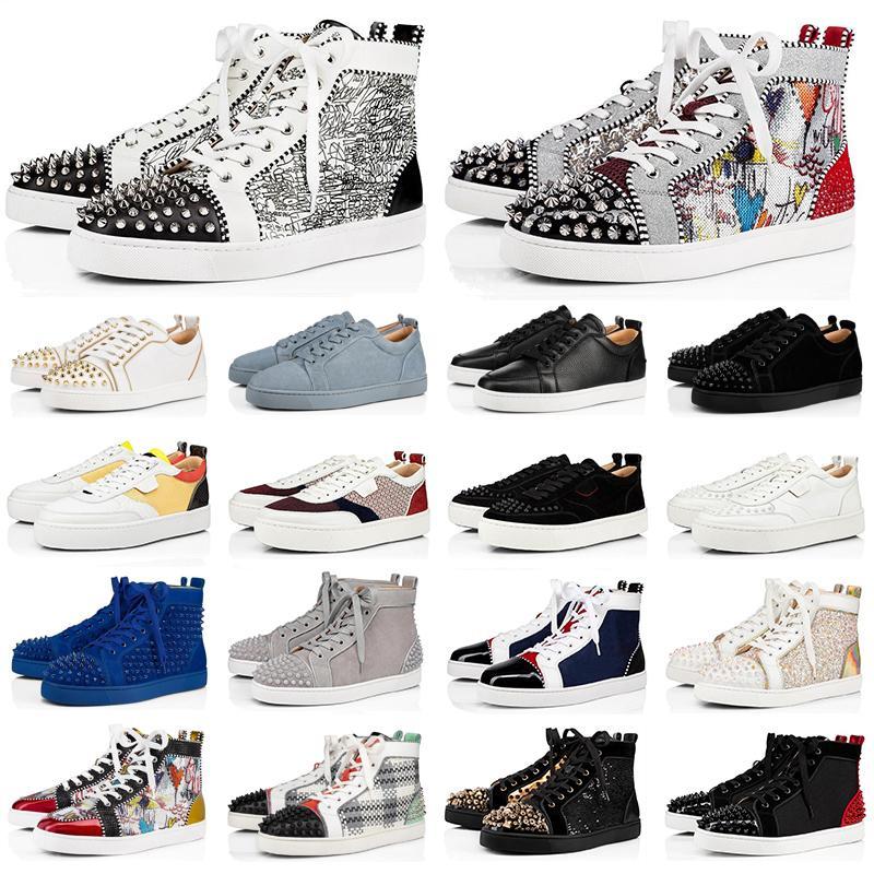 새 빨간 바닥 남성 여성 패션 신발 스파이크 하이 탑 스니커즈 검은 색 흰색, 파란색, 회색 가죽 스웨이드 플랫 캐주얼 신발 조깅 산책