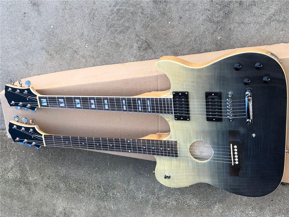 크롬 하드웨어와 더블 넥 6 + 6 문자열 세미 할로우 바디 일렉트릭 기타, 화염 메이플 베니어는 사용자 정의 할 수 있습니다