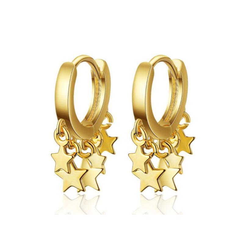 Mode gros Argent 925 Boucles d'oreilles pour les femmes coréenne personnalité Cent oreilles Pendentif étoile d'or