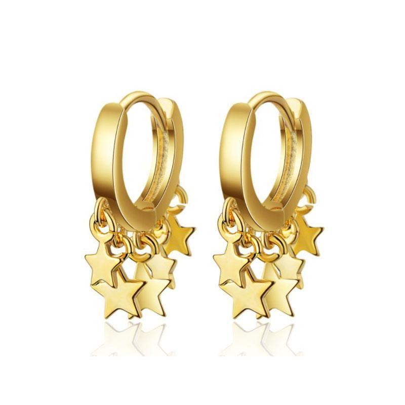 Moda al por mayor de la personalidad 925 pendientes de plata esterlina para las mujeres de Corea Cien estrella del oído oro pendiente