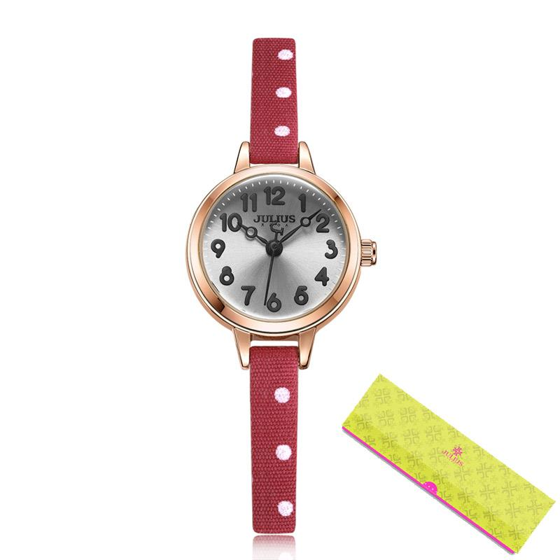 CWP 2021 Julius Small Watch Girl Regalo Número árabe Japón Cuarzo Niños Niños Relojes Ultra Slim Dibujos animados Cuero Montre JA-1022