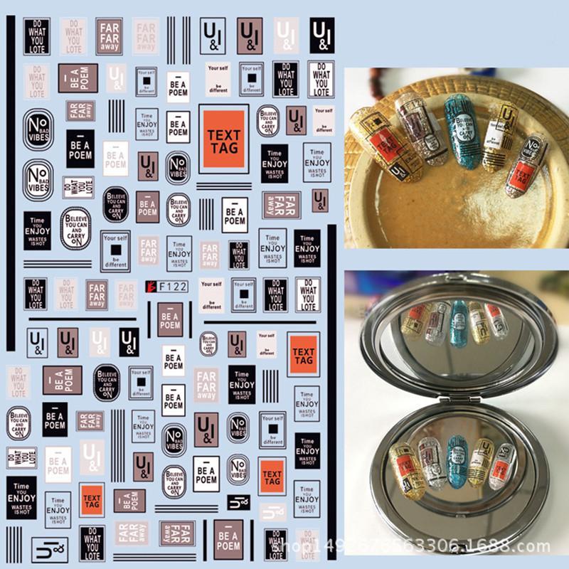 Adesivi per unghie in 3D Adesivo per unghie in 3D per il trasferimento dell'acqua Adesivi in silicone ultrasottile Adesivi per lettere inglesi Decorazioni per unghie