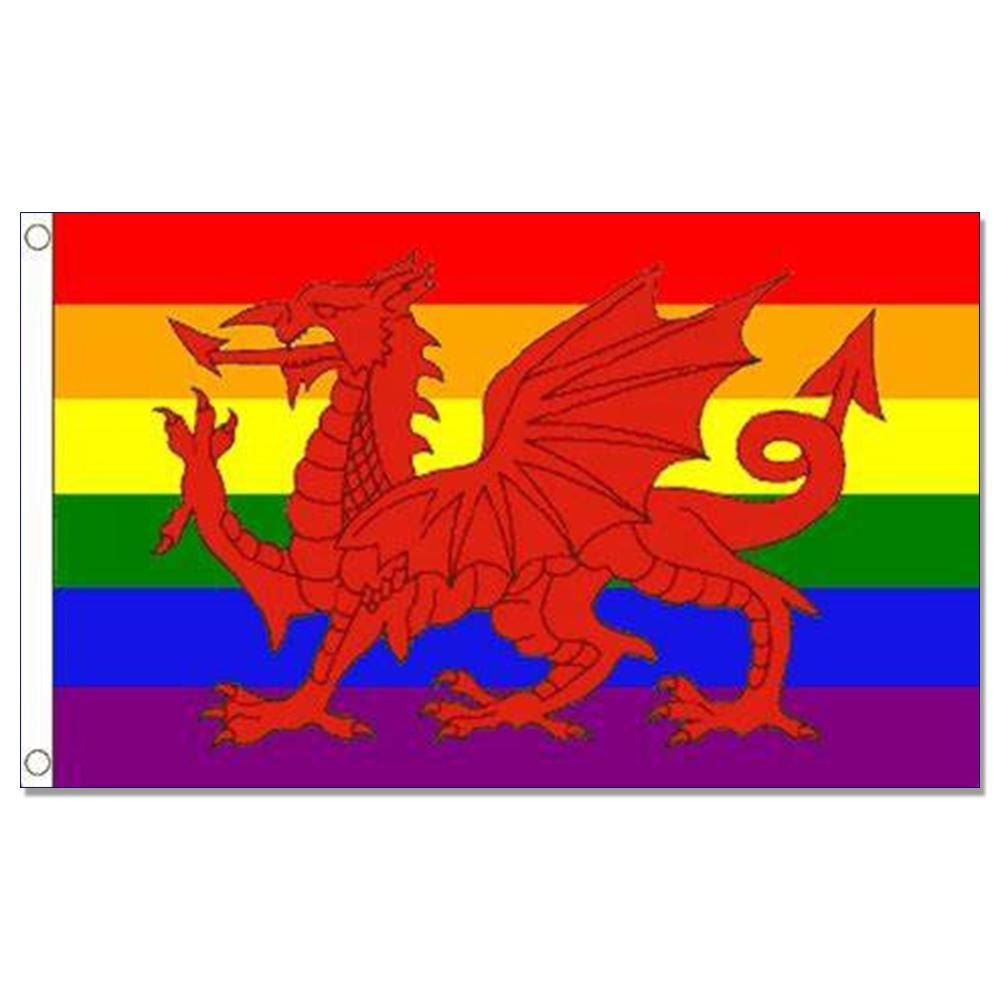 Радуга валлийский дракон флаг 3x5 футов команда баннер 150X90 см 100D полиэстер латунь люверсы пользовательские флаг, Бесплатная доставка