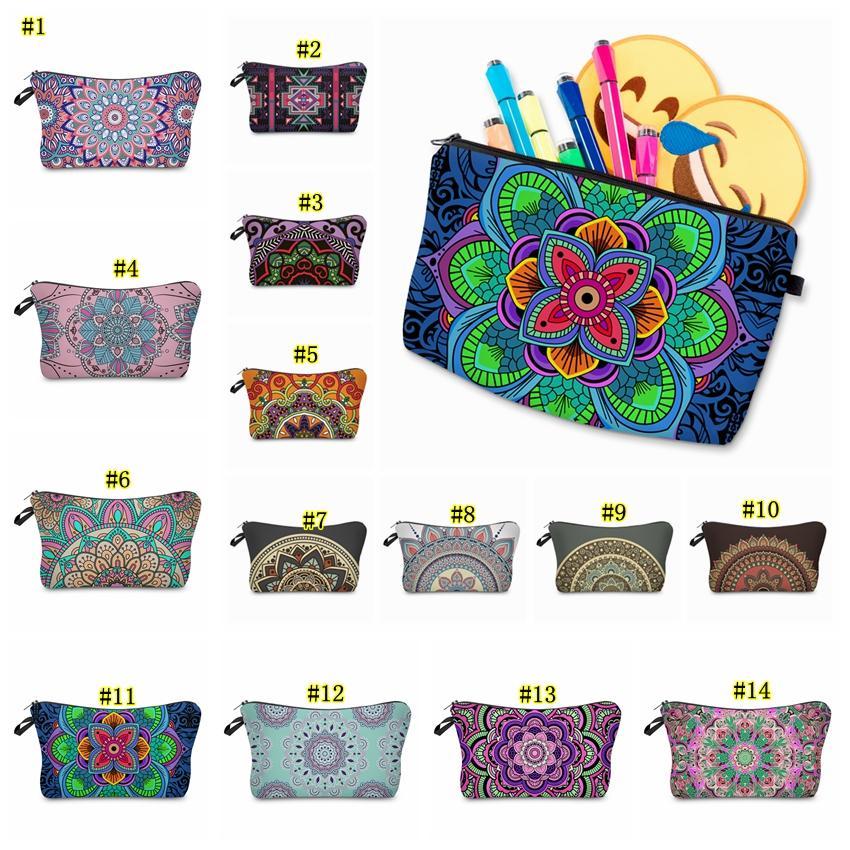 Bohemia Mandala Floral 3D Print Cosmetic Bags Women Travel Makeup Case Women Handbag Zipper Cosmetic Case Flower Printed bag MMA1866