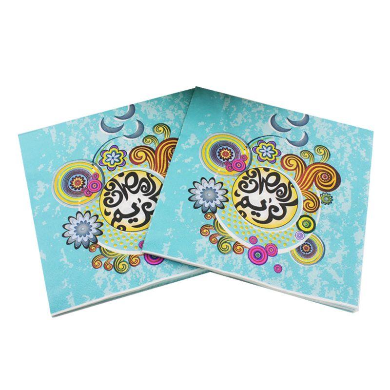 Ramazan Kareem Kağıt Peçete Ay Renkli Baskı Yüz Doku Islam Ay Için İslam Ay Peçeteler Kağıt al-Fitr Dekor 33 * 33 cm VT1412