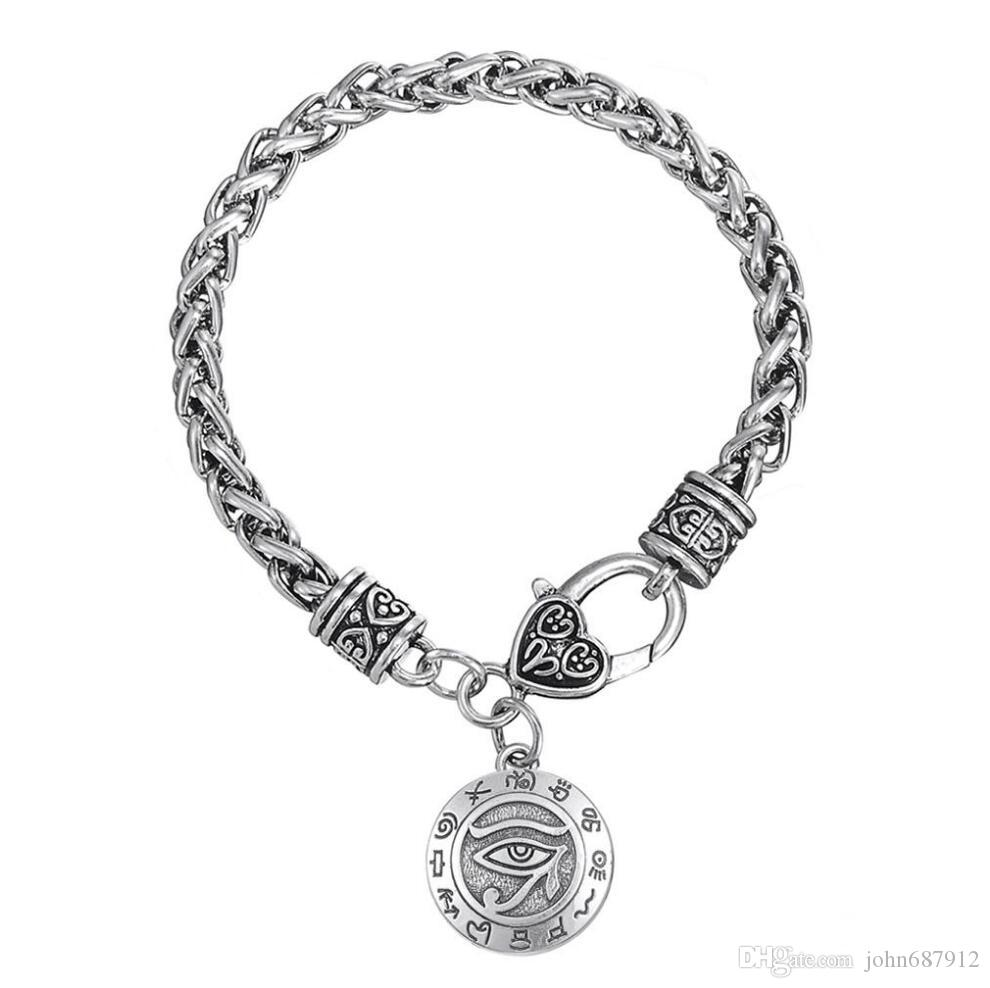 GX113 Mode Pas Cher Vente Chaude Modèle Yeux Vintage Religieux Seul Côté Gravé Rune Amulette Pendentif Bracelets avec pince-homard-pinces
