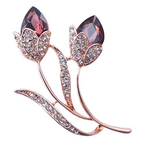 Wholesale 10 pcs Rose Gold Plated Flower with Rhinestone Crystal Brooch for Elegant Women Fashion Jewelry