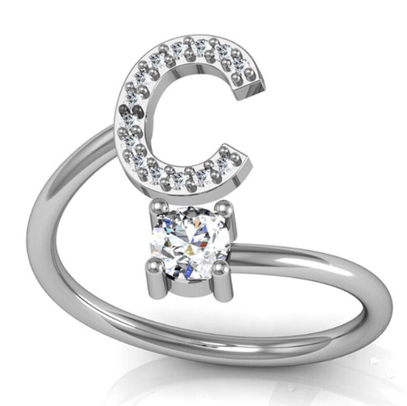 A-Z 26 Anillo del alfabeto inglés Anillo de cristal de diamantes de imitación Apertura Anillo ajustable Damas para hombres Anillo de iniciales simples Mejor regalo de San Valentín