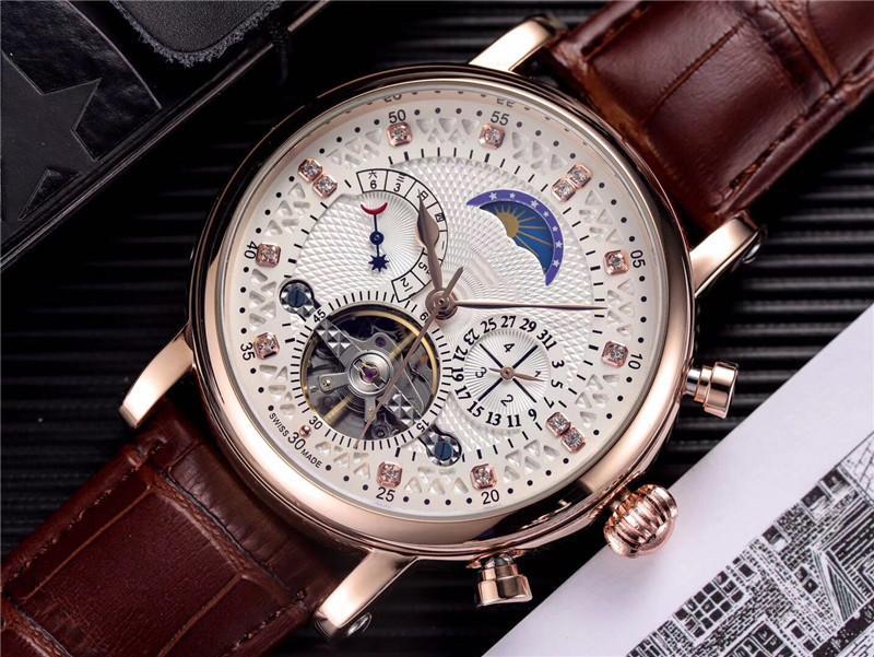 최고의 선물 품질 시계 남성 시계 디자이너 기계식 자동 시계 정품 가죽 스트랩 다이아몬드 다이얼 daydate 달의 위상 시계