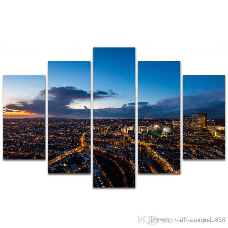 5 Pcs Combinations HD Black and white city Luxurious night Building Unframed Canvas Painting Wall Decoration Printed Oil Painting poster