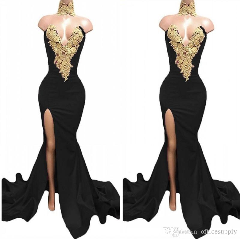 Black Long Split Prom Kleider 2020 Formale Abendparty Pageant Kleider Afrikanisches Kleid High Hals Mermaid Plus Size Custom Made