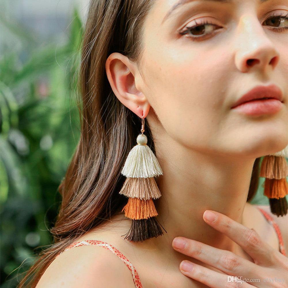 Colorful Layered Tassel Earrings Boho Big Dangle Drop Earrings for Women Girls Tiered Tassel Stud Earrings Women Gifts