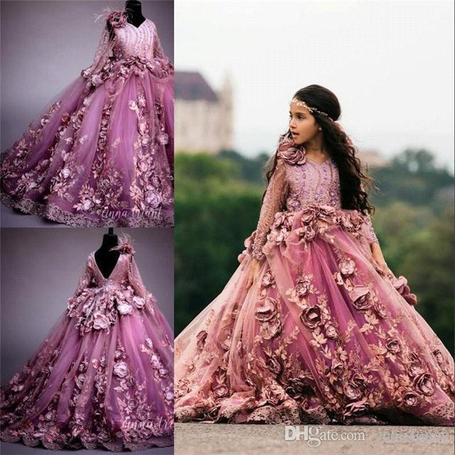 2019 cor-de-rosa bola vestido flor menina vestidos de manga longa hnad fez flores apliques laço tule princesa festa de aniversário menina menina vestido formlal