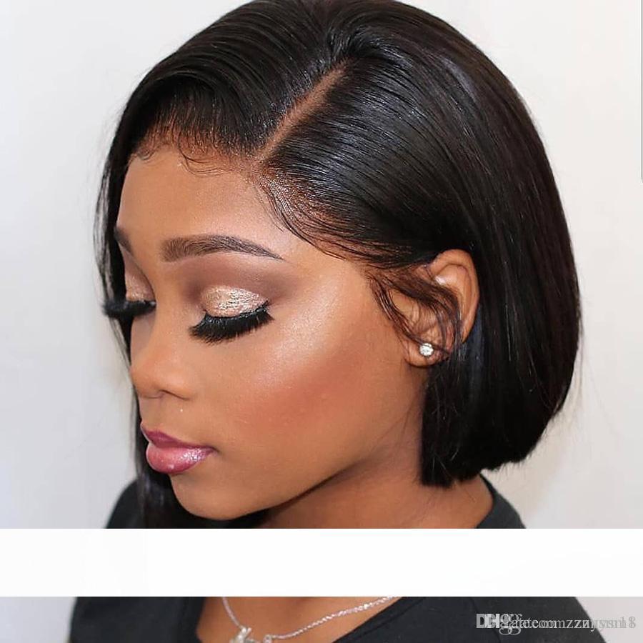 14 дюймов короткие кружева фронт человеческих волос парики 13 * 6 глубокий пробор 180 плотность бразильские волосы боб парик для чернокожих женщин натуральный волосяной покров