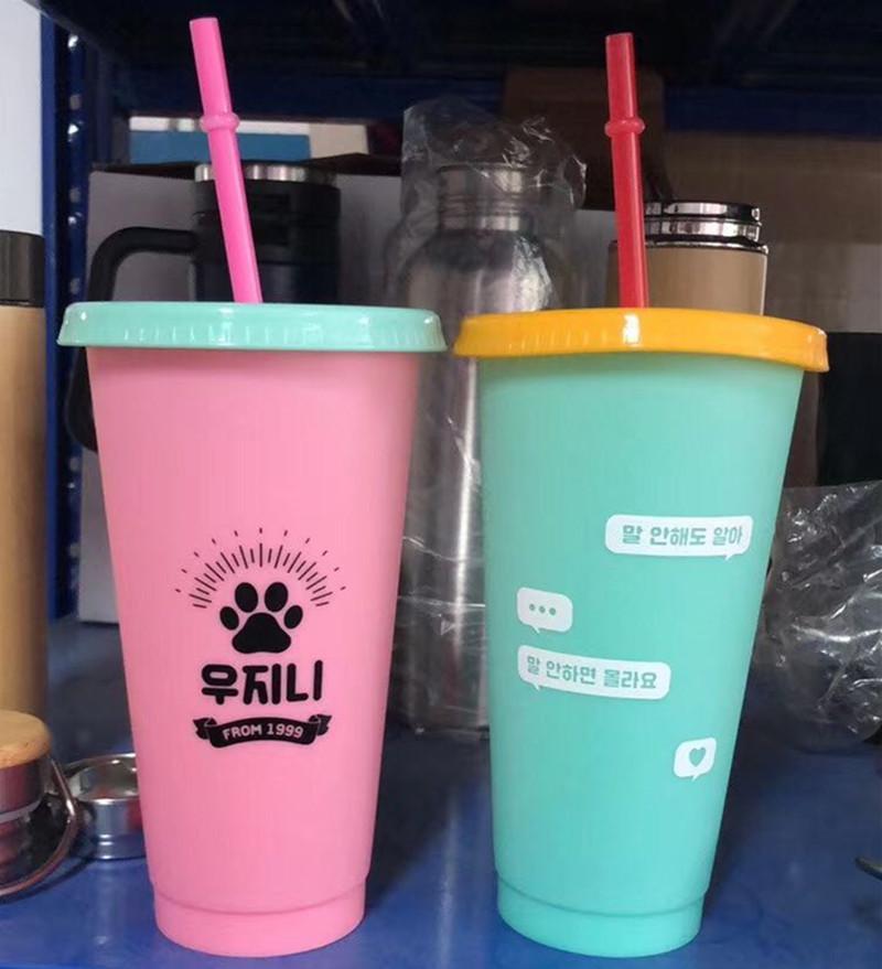 logotipo personalizado 24 onças Cor Mudar Tumblers Beber Magic Cup plástico PP com tampa e palha reutilizável 10 dos doces Cor Fria Cup Água Verão Canecas