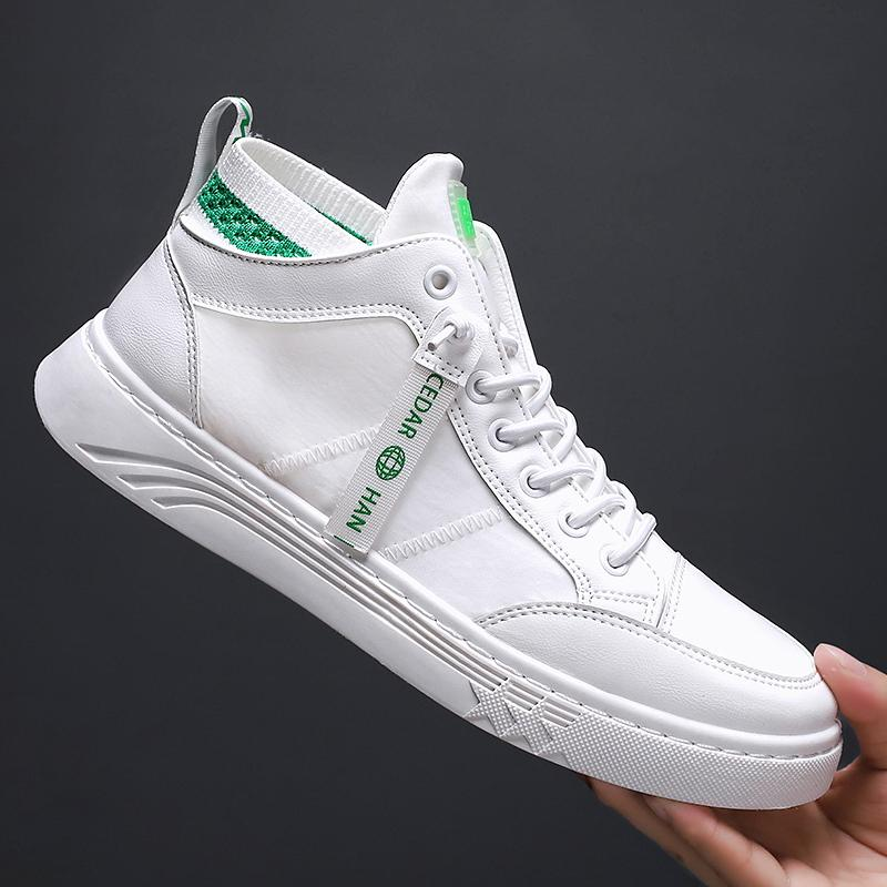 2020 Popular Big Boy calçados casuais High Top PU de couro sapatos para homens Designer Andando Mens Outono Sock Sneakers For Men