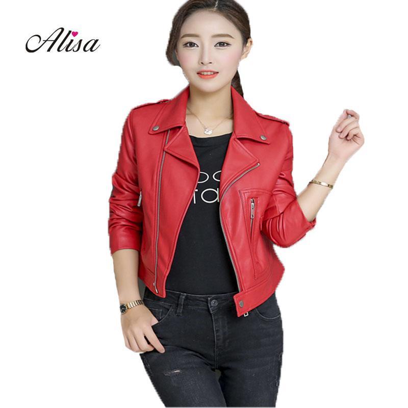 Pu Leather Jacket Female Short Coats 2018 Spring Autumn Women Slim Punk Style Red Biker Leather Jacket Ladies Casacos Feminino