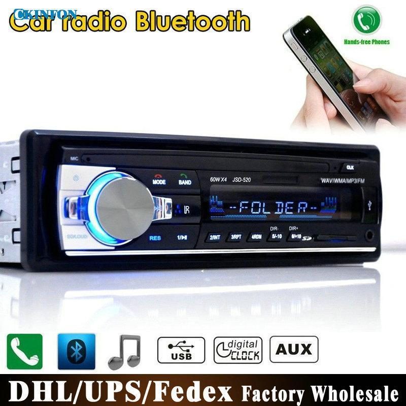 10Pcs/Lot JSD-520 12V Bluetooth Car Stereo FM Radio MP3 Audio Player 5V Charger USB/SD/AUX/APE/FLAC Subwoofer In-Dash 1 DIN