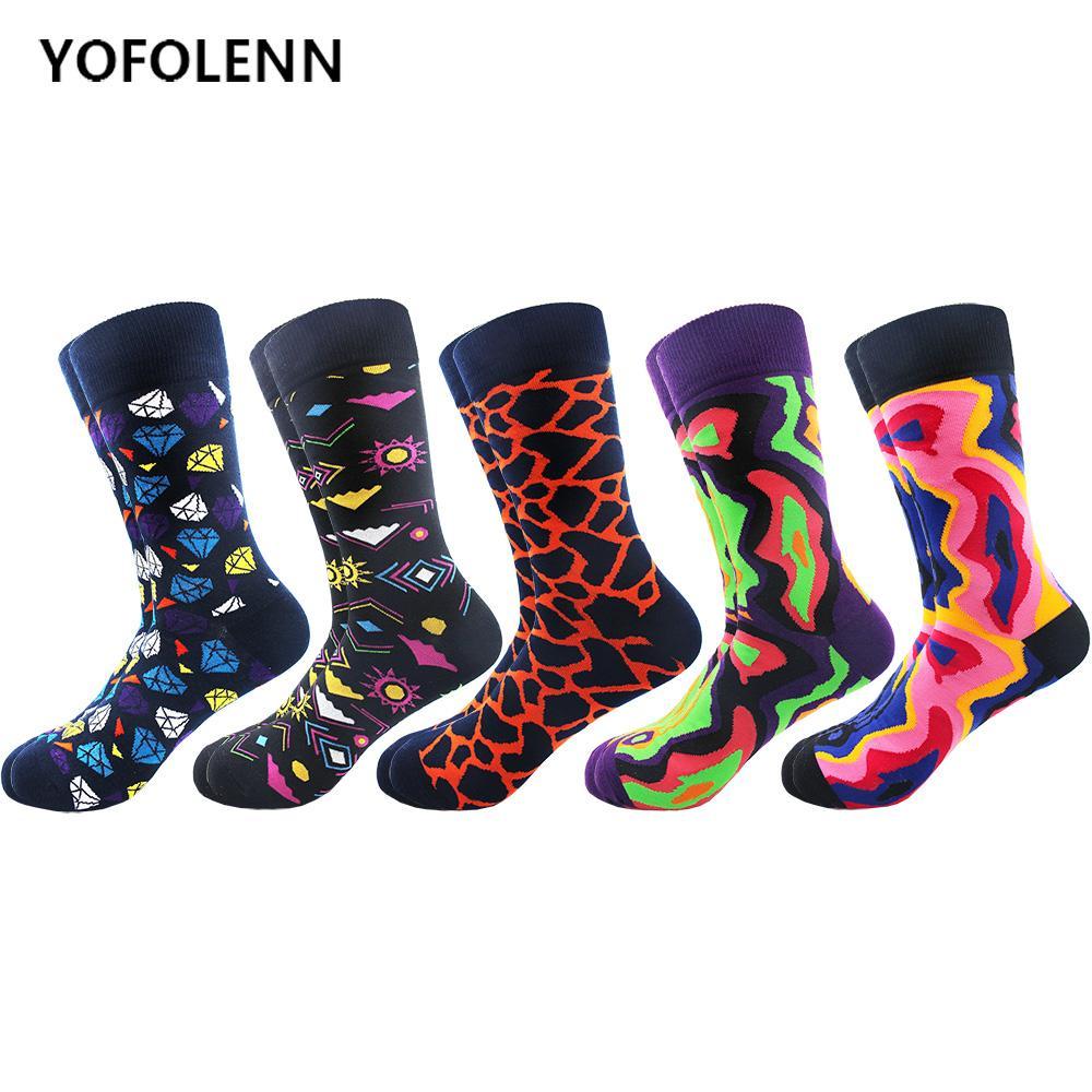 5 Çift / grup Yeni erkek Renkli Penye Pamuk Serin Kaykay Çorap Komik Ekip Nedensel Elbise Düğün Çorap Adam için Yenilik Hediye