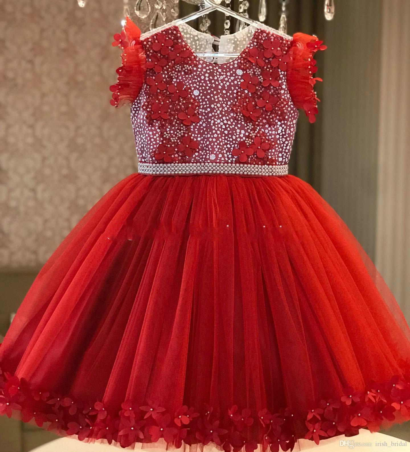Vestidos de perlas de encaje rojo 2019 Vestidos de niña de las flores africanas Flores hechas a mano Vestidos de novia de niña Vestidos de comunión de desfile baratos FL44