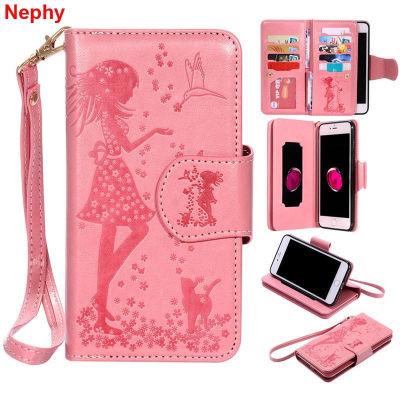 wholesale leather Soft Case For iPhone 6 s 6S 7 8 Plus X 10 5 5S SE 5SE 6Plus 6SPlus 7Plus 8Plus girl Luxury wallet Cell Phone Cover